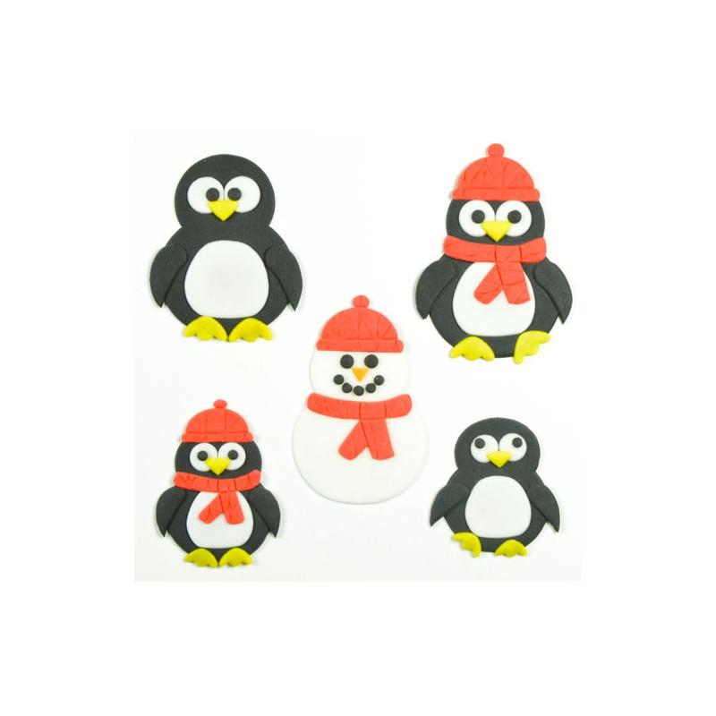 Emportes pièces maman et bébé pingouin - set/4