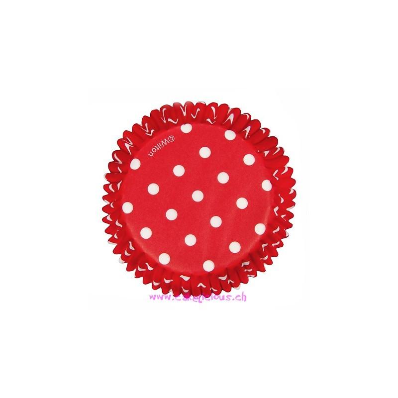 """Caissettes """"Dots"""" Rouge pk/75"""