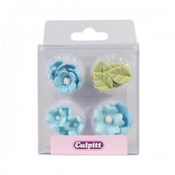 Feuilles & fleurs bleu en sucre - 16pcs