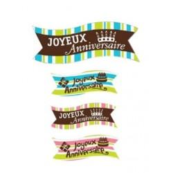 """Banderoles """"Joyeux Anniversaire"""" azyme - 4pcs"""