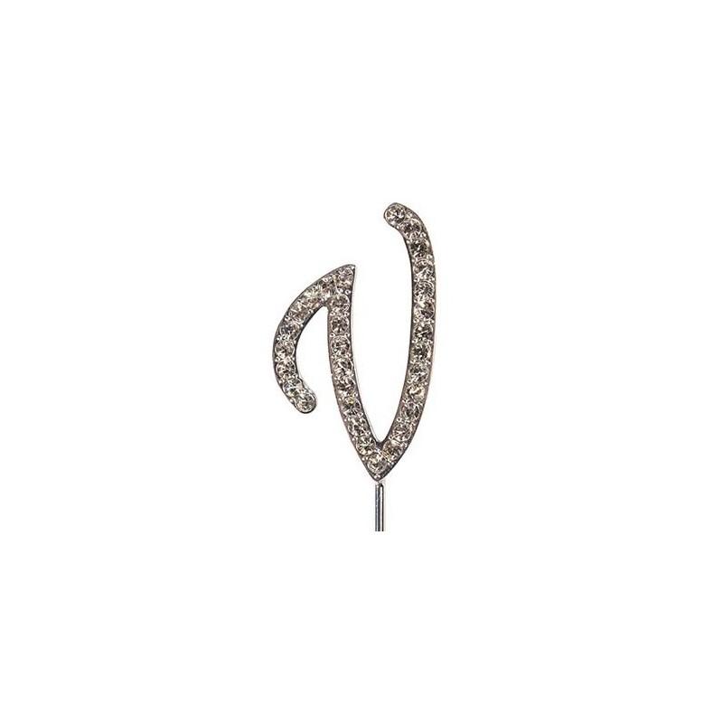 Lettre diamantée 'V' - 45mm
