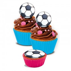 "mini-disques en sucre ""Football"" 3.4cm - 16pcs"