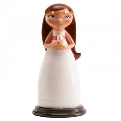 Figurine première communion fille avec une bougie - 13 cm