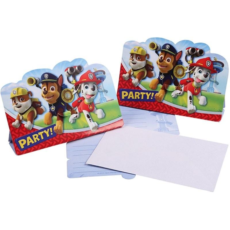 """Pat Patrouille """"Carte d'invitation"""" - 8pcs"""