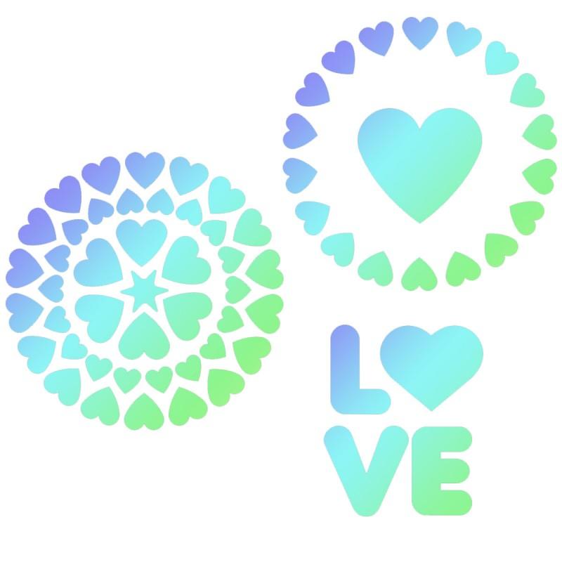 """Pochoirs """"Love"""" - 3pcs"""