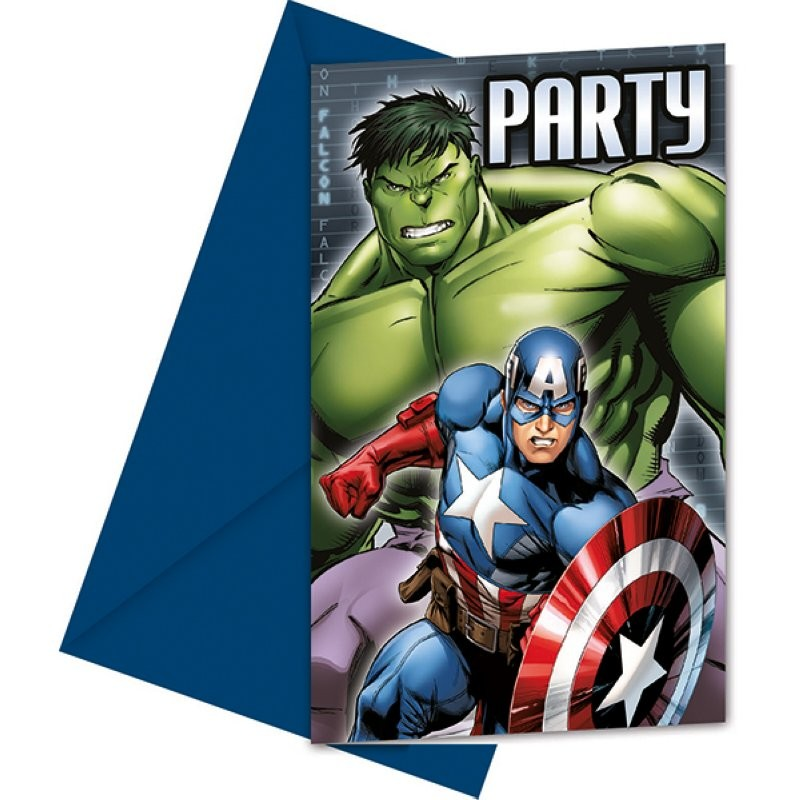 """Cartes d'invitation"" Avengers - 6pcs"