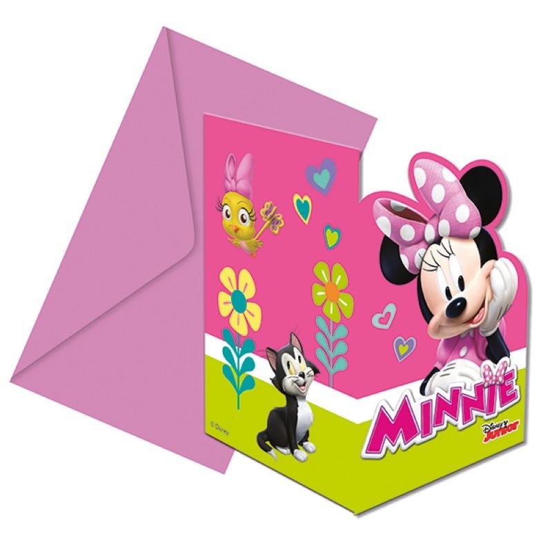 """Minnie """"Carte d'invitation"""" - 6pcs"""