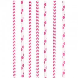"""Paille en papier """"Rose"""" - 8pcs"""