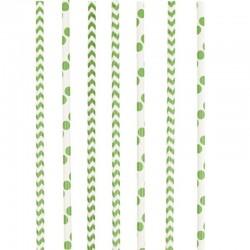 """Paille en papier """"Vert"""" - 8pcs"""