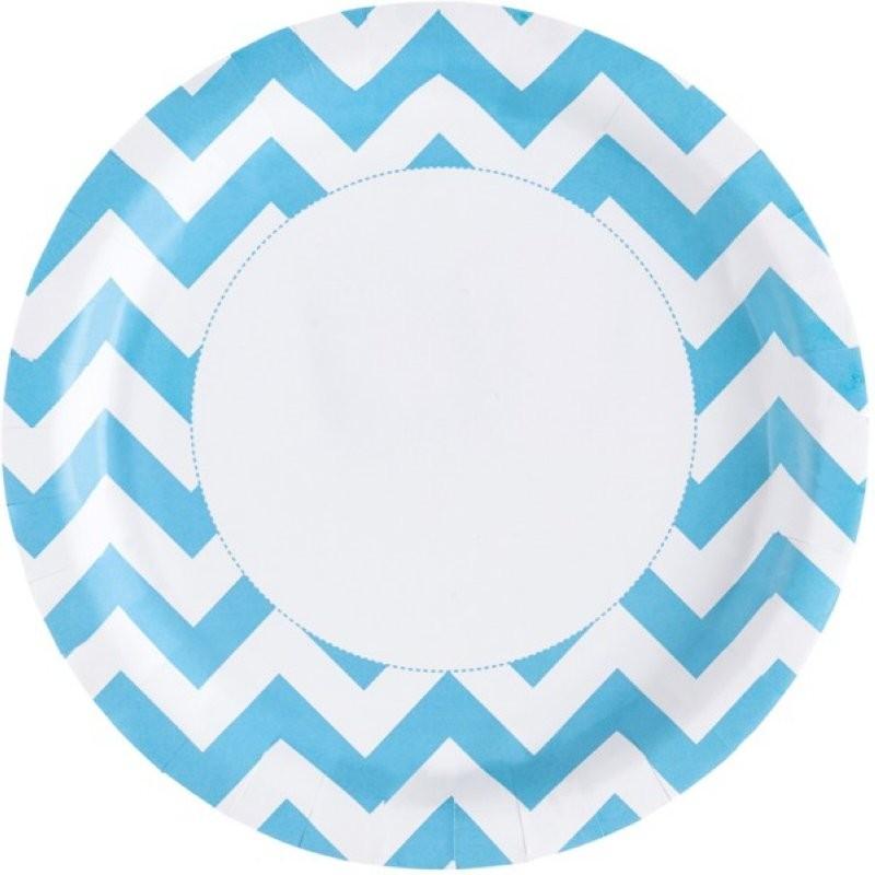 """Assiettes colorées """"bleu"""" - 8pcs"""