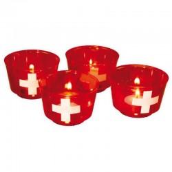 Gobelet suisse avec bougies - 4pcs