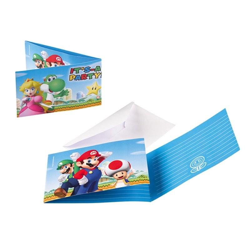 """Super Mario """"Carte d'invitation"""" - 8pcs"""