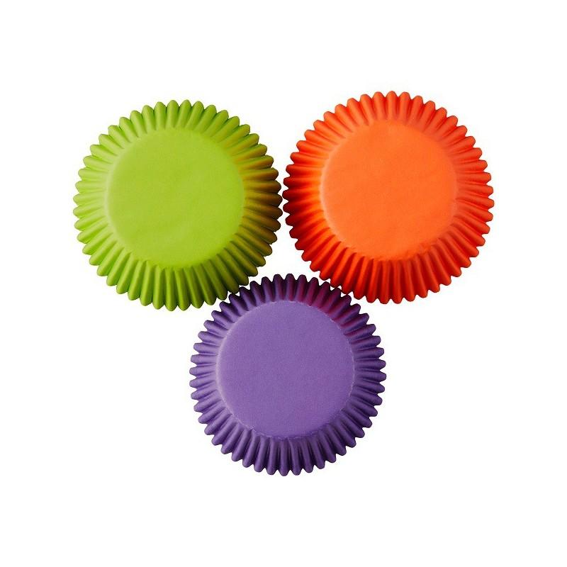 Grandes Caissettes aux couleurs d'Halloween, grandes caissettes cupckes vert,orange,violet
