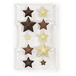Moule à chocolat Etoiles - sapins, moule 3 D pour sapins, moule en forme d'étoiles 3 d, moule chocolat 3 D