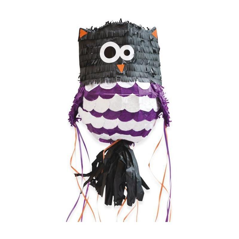 """Pinata """"Hibou"""", pina et bonbons, bonbons hibou, fête avec un hibou, anniversaire hibou, décorations hibou, hibou noir et violet,"""