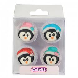 Pingouins de Nöel en sucre, sucre pingouins, décorations pingouin, décorations gâteau pingouins, décorations comestible pingouin