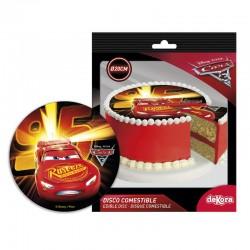 Disque sucre voiture, disque sucre Flash MC Queen, Flash Mc Queen, décoration voiture comestible, décoration comestible Flash Mc