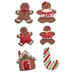 décoration en sucre Noël, décos pain d'épice, décos comesible bûche de noël, décos en sucre pain d'épices, pain d'épice, maison