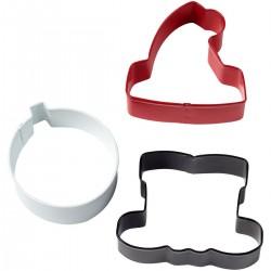 emporte-pièces hiver, emporte-pièces boule de noël, emporte-pièces bonnet père noël, emporte-pièce rouge, blanc, noir