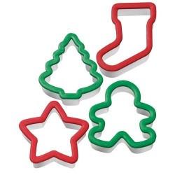 emporte-pièces plastique de noël, emporte-pièces sapin, emporte-pièce de noël, emporte-pièces verts et rouge