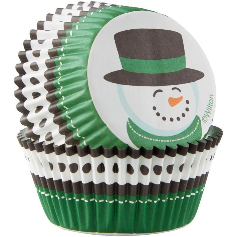 caissettes bonhomme de neige, caissettes bonhomme de neige vertes, grandes caissettes bonhomme de neige, grandes caissette cupca