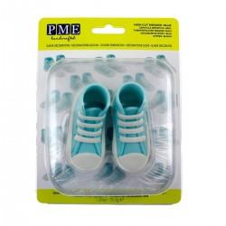 chausson bébé pâte à sucre bleu, chausson bébé bleu, chaussures bébé bleu, décoration baby shower bleu, décoration bébé pâte à s