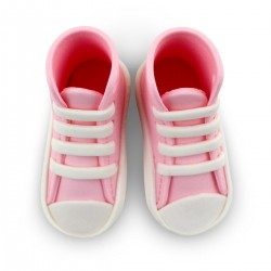 chausson bébé pâte à sucre rose, chausson bébé rose, chaussures bébé rose, décoration baby shower rose, décoration bébé pâte à s