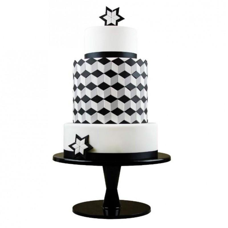 Emporte-pièce géométrique, emporte-pièce gâteau géométrique, gâteau noir et blanc forme, forme géométrique pour gâteau, forme gé