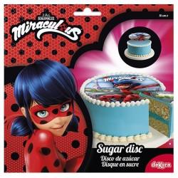 """Disque en sucre """"Miraculous"""", décoration miraculous, décoration coméstible miraculous, gâteau miraculous, disque Ladybug, disque"""