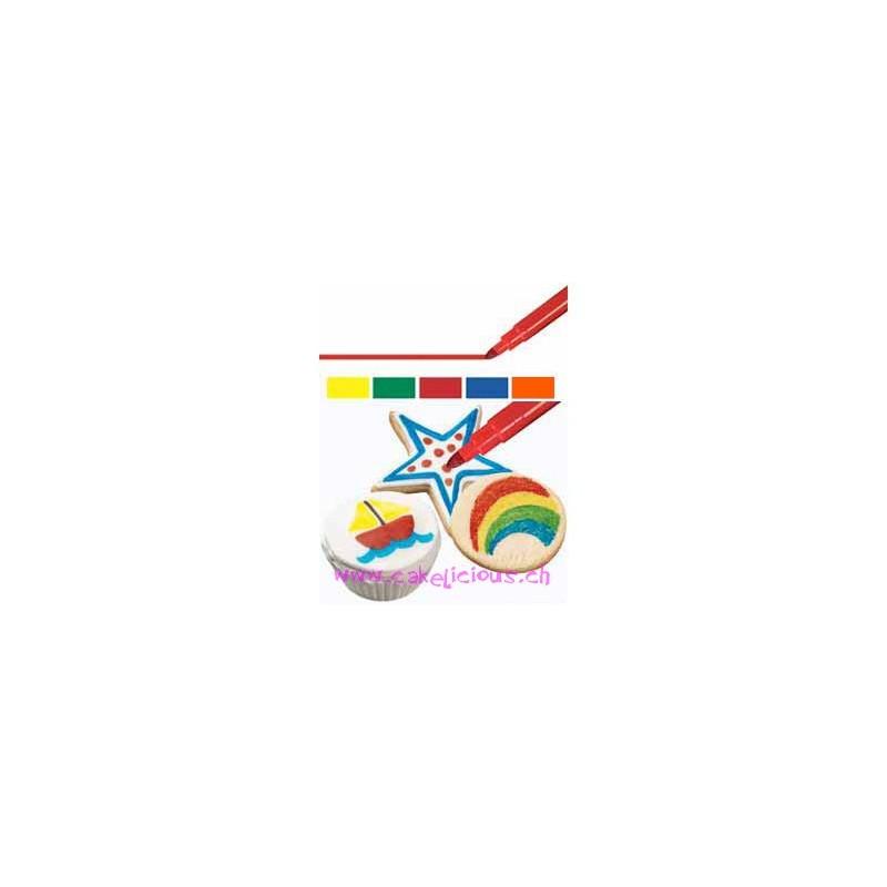 Feutres alimentaires couleurs primaires Set/5
