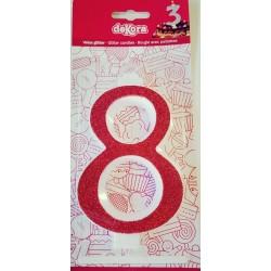 Bougie rubis brillante chiffre 8 de grande taille
