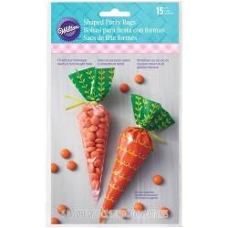 sachets bonbons forme carottes, sachet dragés forme carottes, sachet carotte, sachet plastique carottes, sachets orange-vert