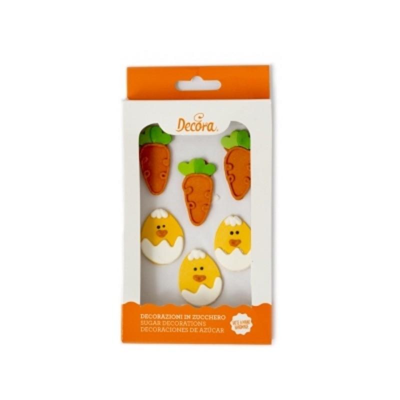 décoration en sucre, décoration comestible, décoration comestible en sucre, sucre ppoussin, sucre carottes , sucre forme poussin