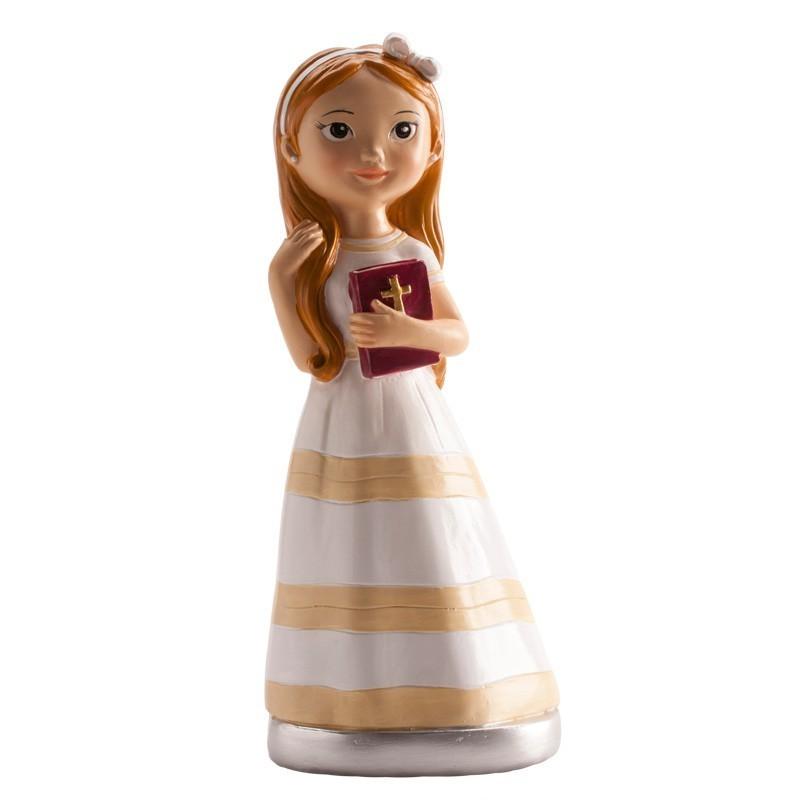 Figurine première communion brune, figurine 1 ère communion fille, 1 ère communion figurine, figurine 1 ère communion fille brun