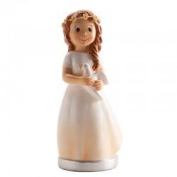 Figurine première communion brune, figurine 1 ère communion fille et colombe, 1 ère communion figurine, figurine 1 ère communion