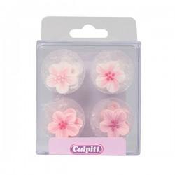fleurs en sucre rose,fleurs comestible, fleurs en sucre décoratifs, fleurs en sucre décoratifs, petites fleurs en sucre décorati