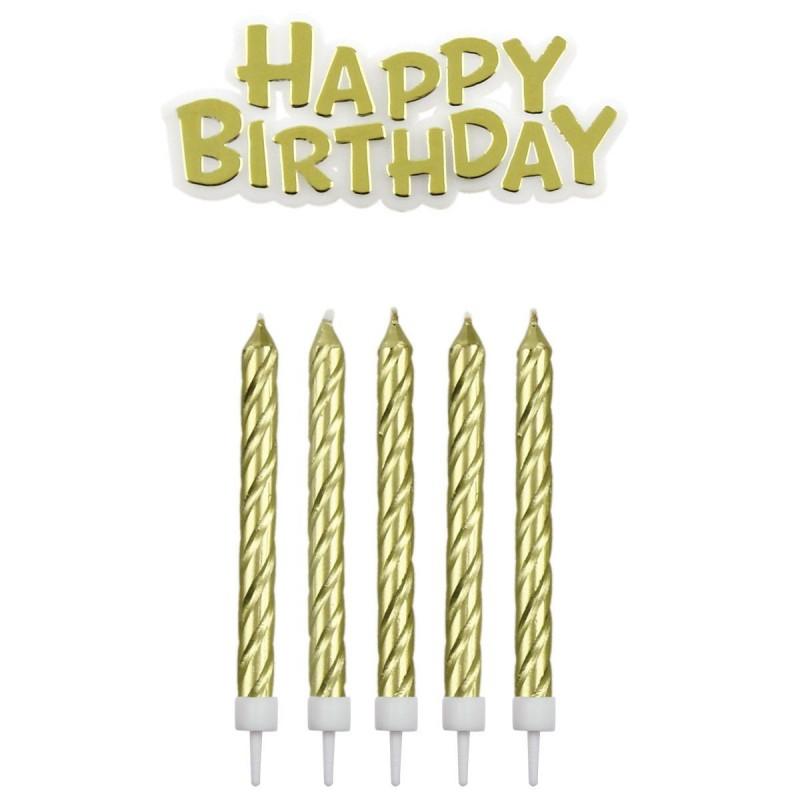 Ensemble de bougies dorées, bougies Happy birthday