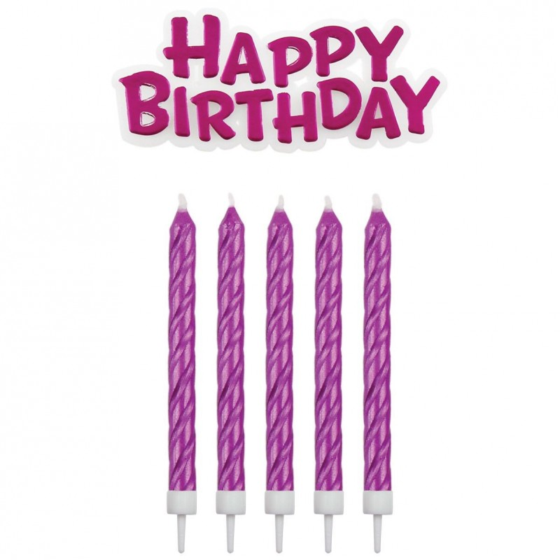 Ensemble de bougies roses, bougies Happy birthday