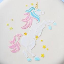 pochoir licorne, pochoir à gâteau licorne, pochoir gâteau, licorne, fête licorne, gâteau licorne