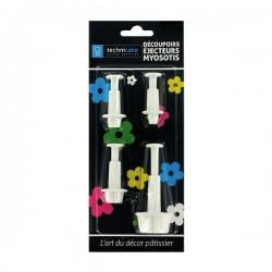 Emporte-pièce fleurs avec éjecteur, emporte-pièce fleurs, forme fleurs , set emporte-pièces fleurs, emporte-pièces petites fleur