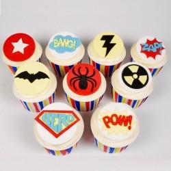 Décorations de super-héros, emporte-pièce super héros, décoration gâteau super héros, super héros, décos gâteau comestible suppe