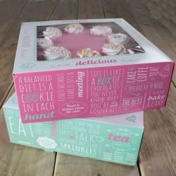 Boîte à gâteau - 21 x 21 cm, boîte carrée, boîte à gâteau carrée, boîte de transport pour gâteau