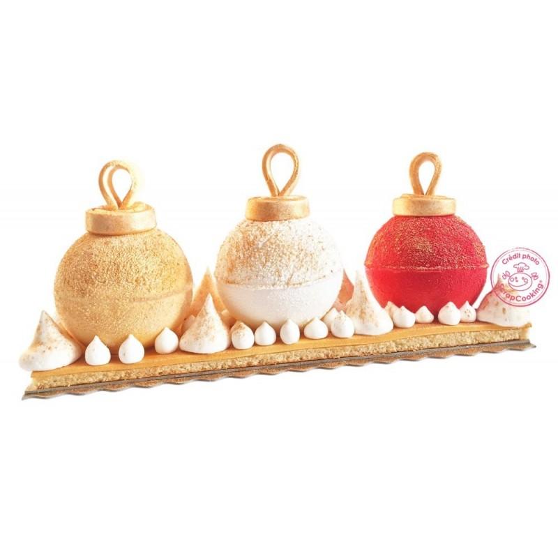 Kit boules de Noël, moule boule de noël, bûche chic, moule pour bûche chic, bûche en forme de boules de noël,