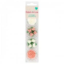 Roses en sucre, petite rose en sucre, rose comestible, décoration gâteau rose