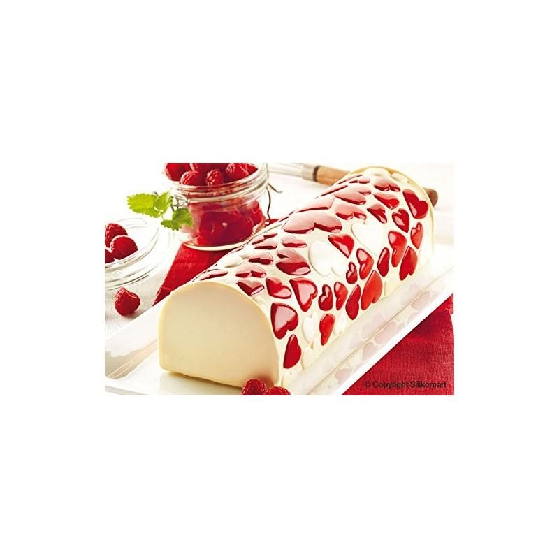 Tapis en silicone- coeurs, tapis effet coeurs en relief 2d, effet coeur en relief pour gâteau, effet coeurs pour bûches de noël,