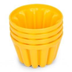 Moules à flan, moule à flan plastique, moule jaune, flan