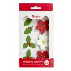 Etoile de Noël et Houx, sucre décoratif feuille, sucre décoratifs fleurs, sucre décoratifs houx, décoration gâteau de noël, déco