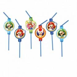 """Lot de 8 pailles """"Super Mario"""", paille super mario, super mario décorations, anniversaire super mario"""