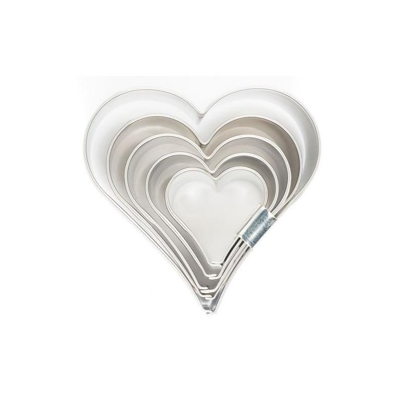 """Emporte-pièces """"Coeurs"""", set emporte-pièce coeur, biscuits coeurs, petits coeurs emporte-pièces, set emporte-pièce 5 coeurs"""
