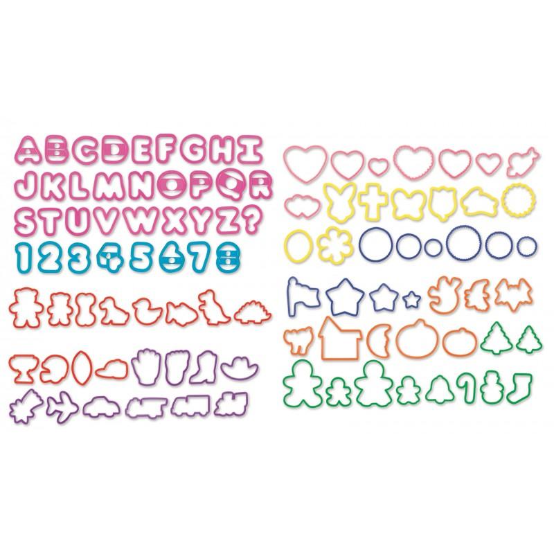 101 emporte-pièces, set de 101 emporte-pièce, kit emporte-pièces ,emporte-pièce lettres, emporte-pièces numéros